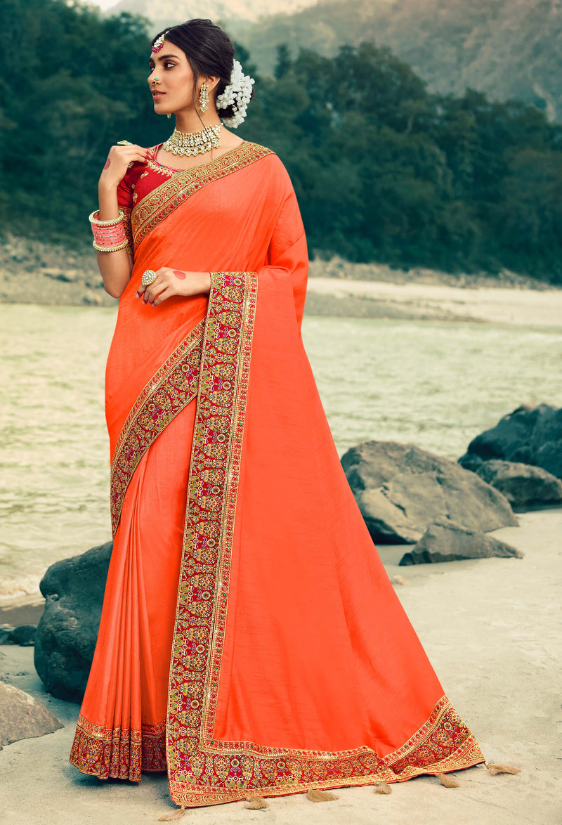 Peach Color Dola Silk Plain Sarees With Heavy Border NYF-9582