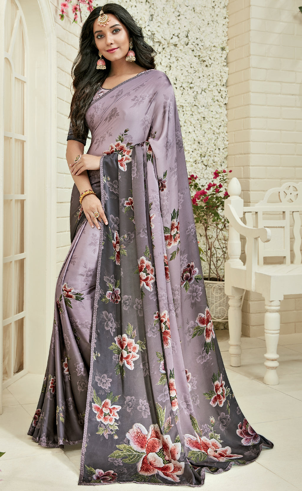 Lavender Color Crepe Silk Designer Party Wear Sarees : Sumaina Collection  NYF-3088 - YellowFashion.in