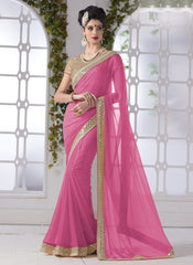 Light Pink Color Wrinkle Chiffon Party Wear Sarees : Piyanshi Collection  YF-44274