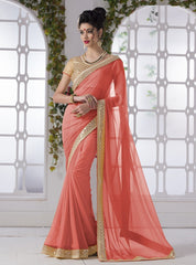 Peach Color Wrinkle Chiffon Party Wear Sarees : Piyanshi Collection  YF-44275