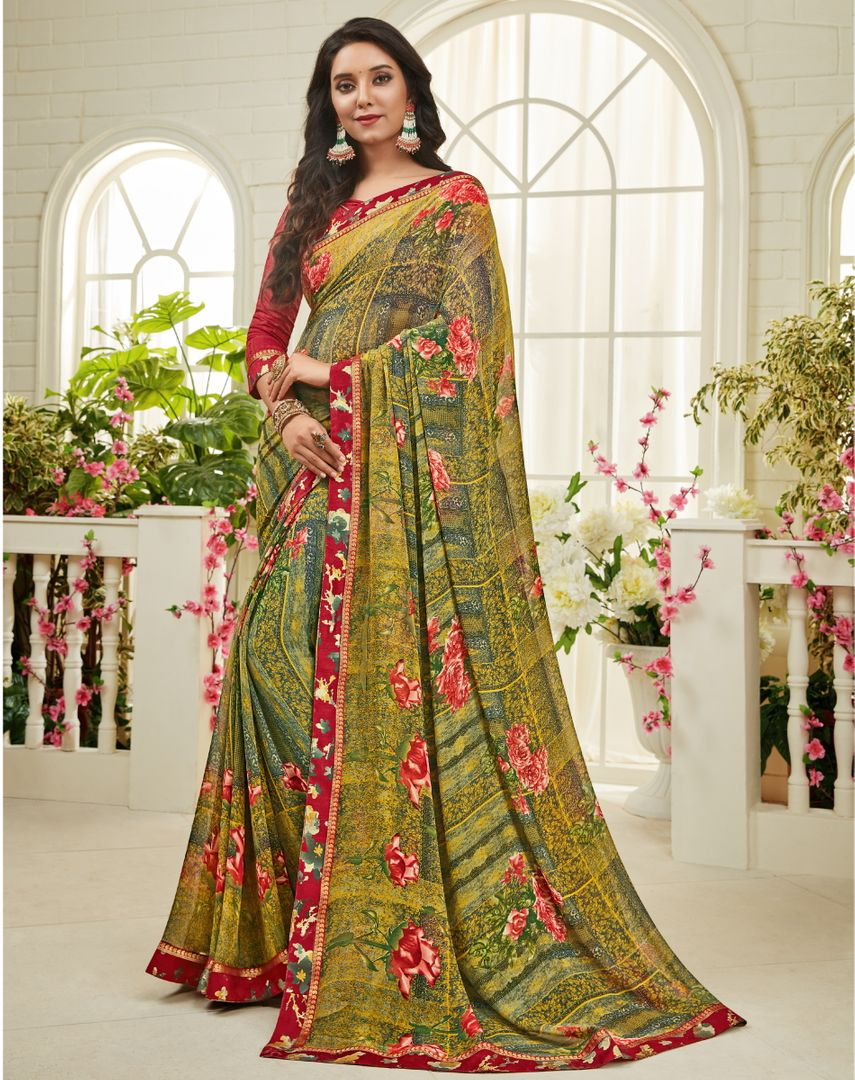 Shades Of Green Color Georgette Kitty Party Sarees : Madhudhara Collection  NYF-3210 - YellowFashion.in