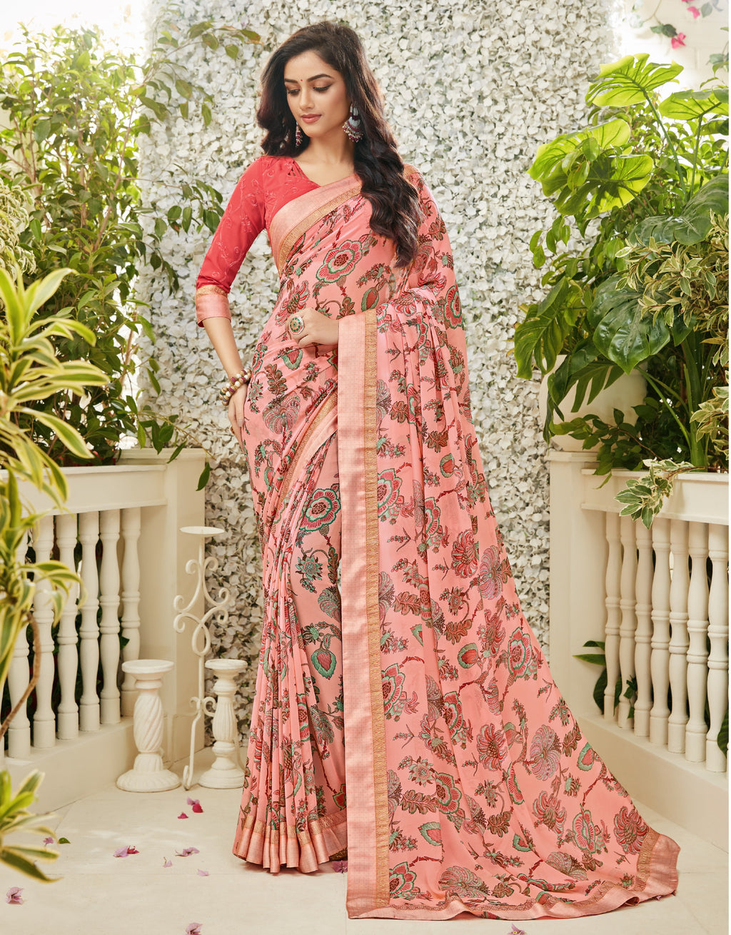 Pink Color Chiffon Kitty Party Sarees : Madhudhara Collection  NYF-2763 - YellowFashion.in