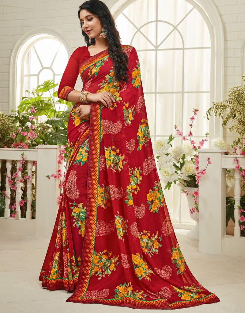 Red Color Chiffon Kitty Party Sarees : Madhudhara Collection  NYF-2764 - YellowFashion.in