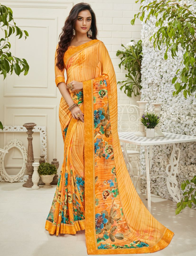 Orange Color Chiffon Kitty Party Sarees : Madhudhara Collection  NYF-2765 - YellowFashion.in