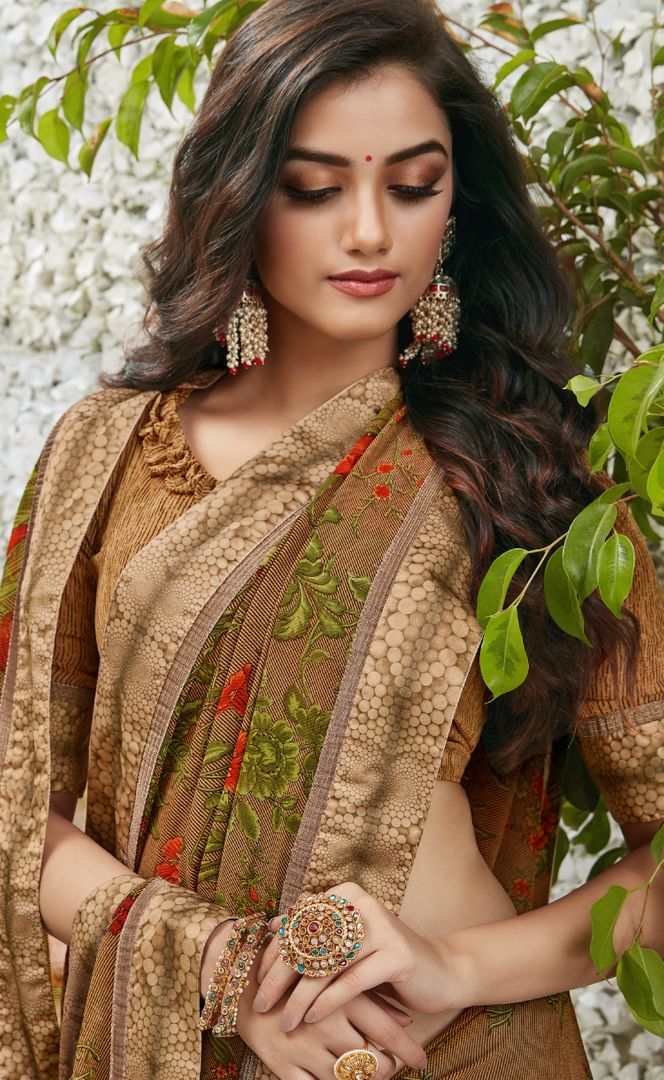 Brown Color Chiffon Kitty Party Sarees : Madhudhara Collection  NYF-2767 - YellowFashion.in