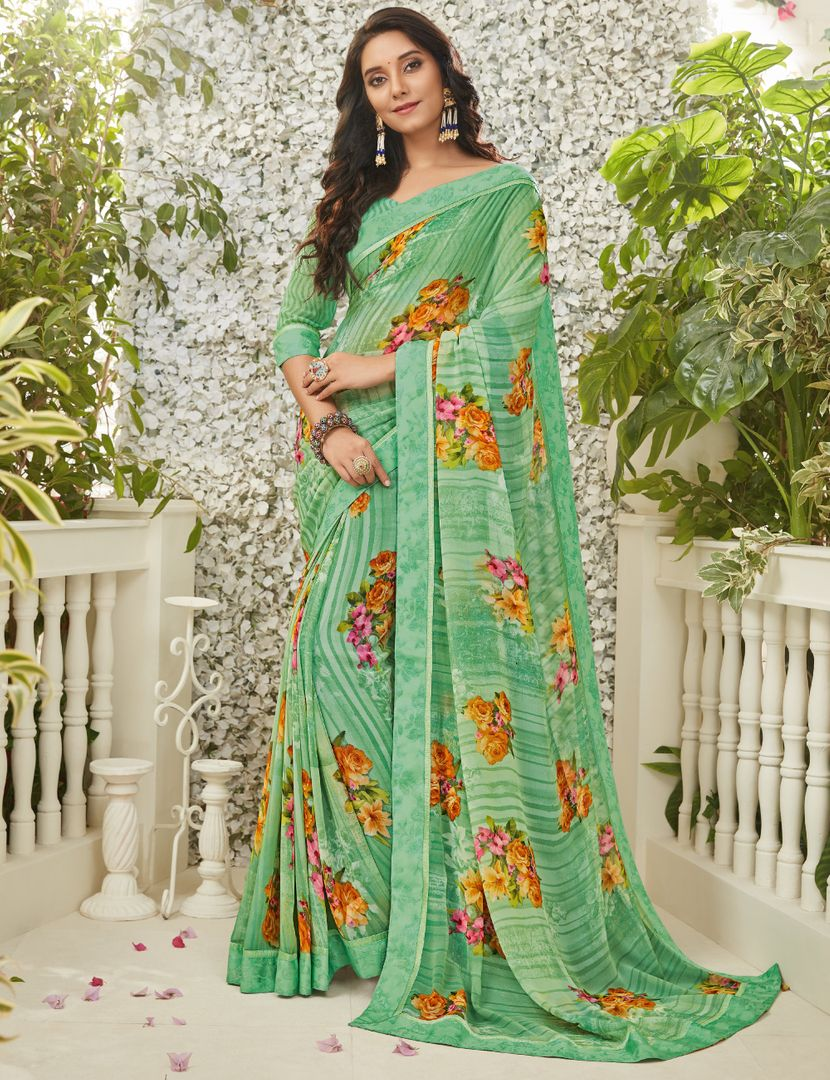 Sea Green Color Chiffon Kitty Party Sarees : Madhudhara Collection  NYF-2768 - YellowFashion.in