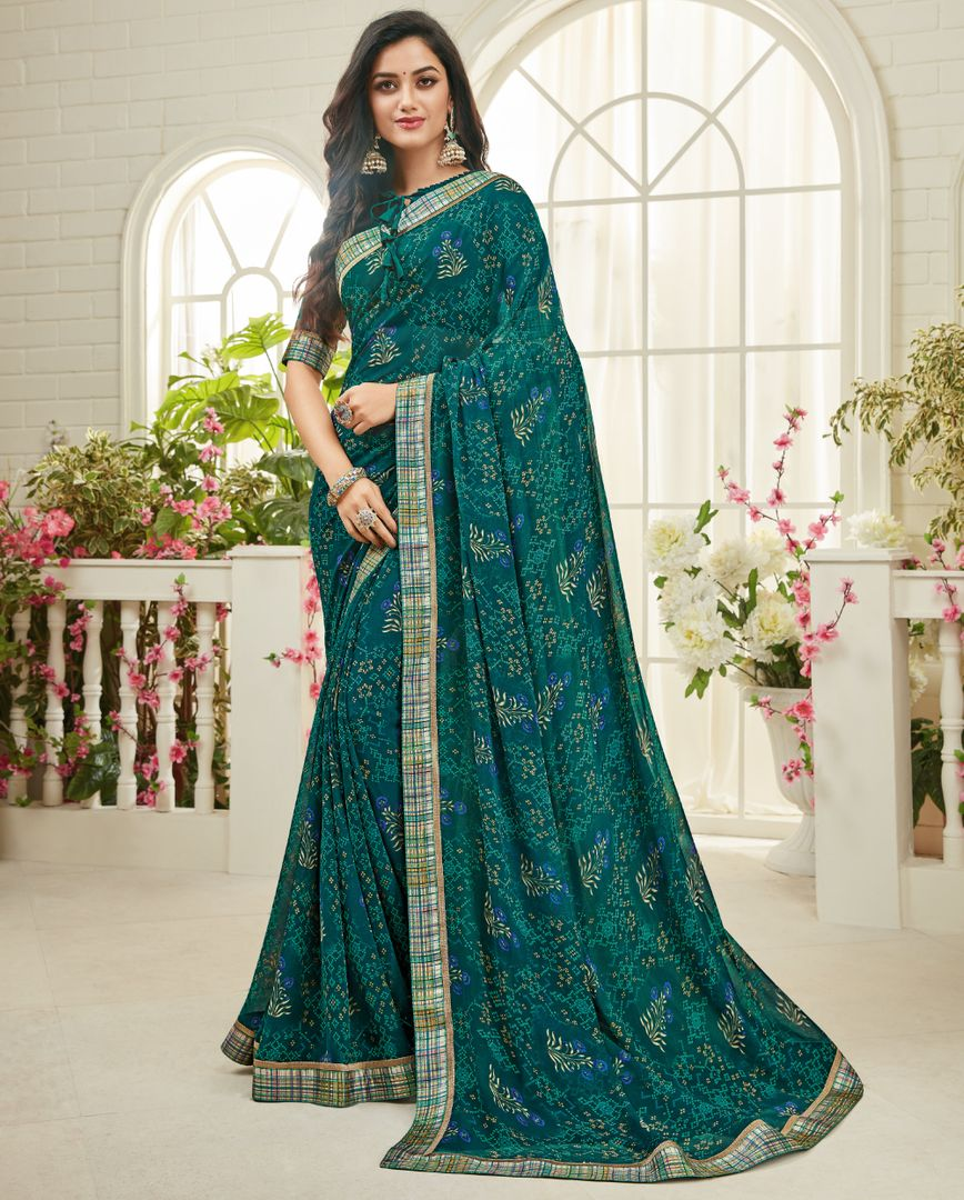 Rama Green Color Georgette Kitty Party Sarees : Madhudhara Collection  NYF-2771 - YellowFashion.in