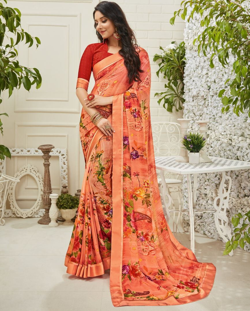Peach Color Georgette Kitty Party Sarees : Madhudhara Collection  NYF-3211 - YellowFashion.in