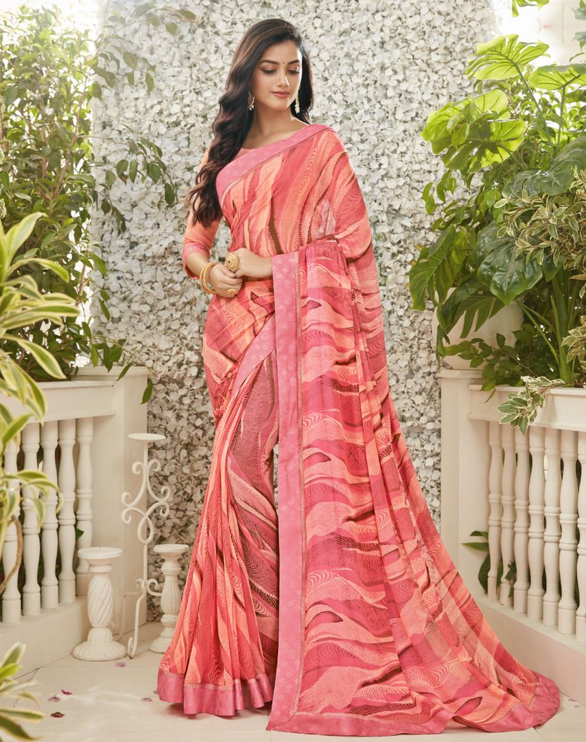 Pink Color Chiffon Kitty Party Sarees : Madhudhara Collection  NYF-2774 - YellowFashion.in