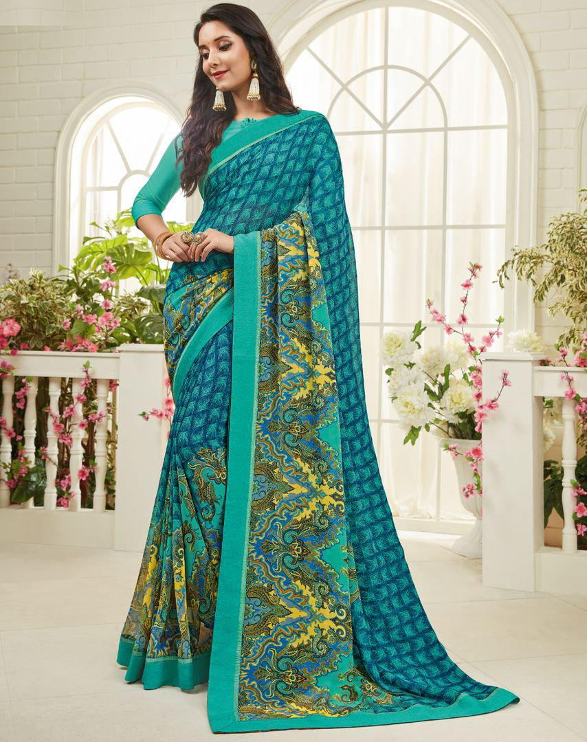 Blue & Green Color Chiffon Kitty Party Sarees : Madhudhara Collection  NYF-2777 - YellowFashion.in
