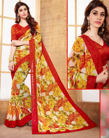 Yellow & Red Color Georgette Casual Party Wear Sarees : Vaibhavi Collection  YF-38311