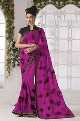 Rani Pink Color Georgette Party Wear Sarees : Suzania Collection  YF-46396