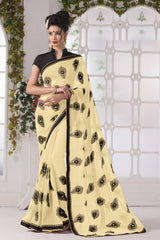 Cream Color Georgette Party Wear Sarees : Suzania Collection  YF-46397