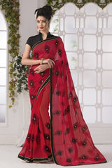Red Color Georgette Party Wear Sarees : Suzania Collection  YF-46400