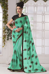 Shades Of Green Color Georgette Party Wear Sarees : Suzania Collection  YF-46401