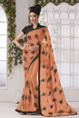 Light Orange Color Georgette Party Wear Sarees : Suzania Collection  YF-46402