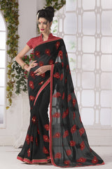 Black Color Georgette Party Wear Sarees : Suzania Collection  YF-46403