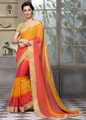 Yellow & Pink Color Wrinkle Chiffon Festival & Party Wear Sarees : Sarnav Collection  YF-50122