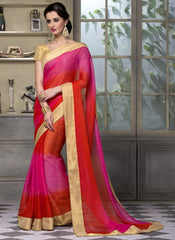 Orange & Rani Pink Color Wrinkle Chiffon Festival & Party Wear Sarees : Sarnav Collection  YF-50123