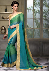 Green & Blue Color Wrinkle Chiffon Festival & Party Wear Sarees : Sarnav Collection  YF-50124