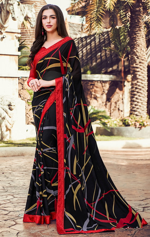 Black & Red Color  Georgette  Casual Wear Saree YF#10022