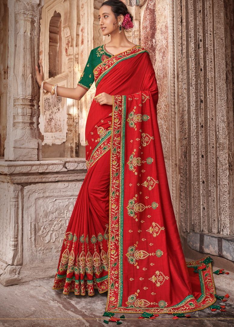 Red Color Raw Silk Dazzling Party Wear Sarees NYF-4832
