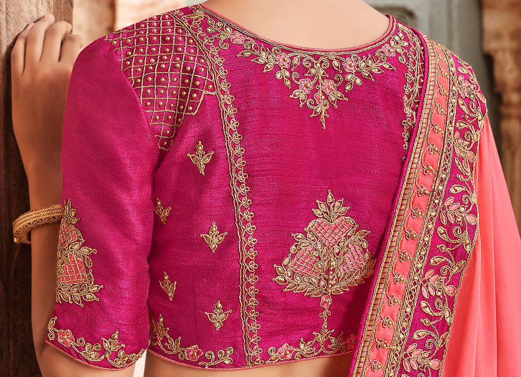 Pink Color Raw Silk Dazzling Party Wear Sarees NYF-4836