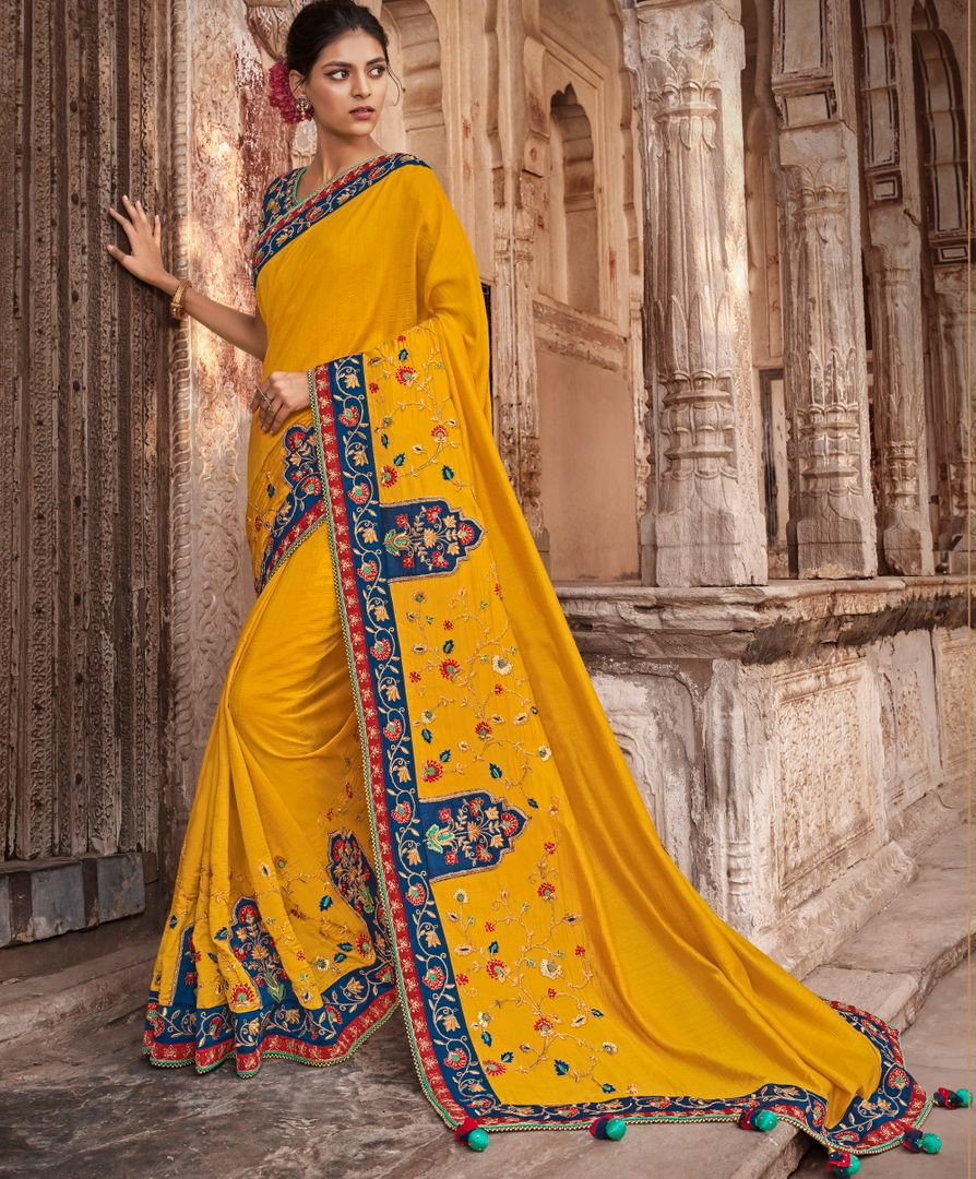 Yellow Color Raw Silk Dazzling Party Wear Sarees NYF-4837