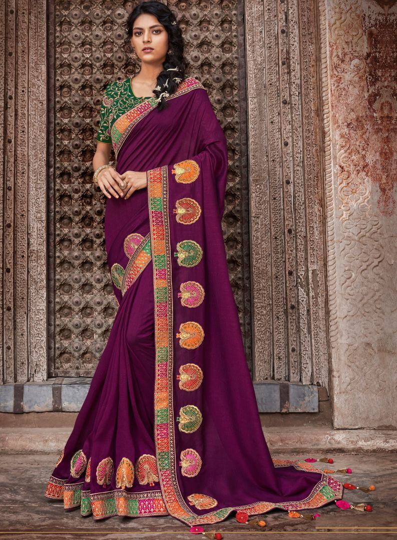 Purple Color Raw Silk Dazzling Party Wear Sarees NYF-4838