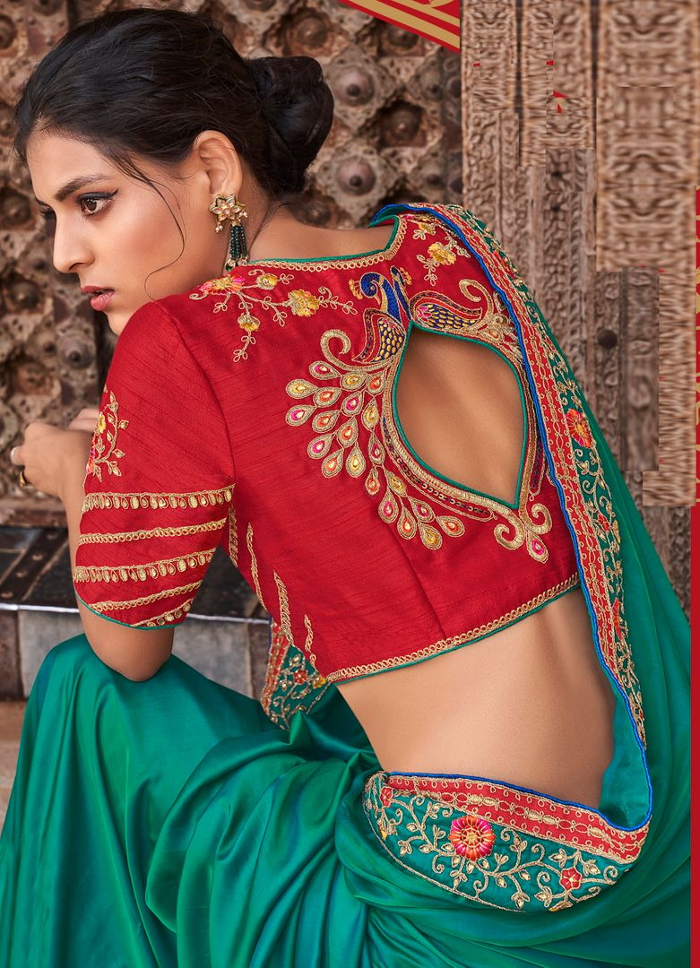 Peackock Green Color Raw Silk Dazzling Party Wear Sarees NYF-4839