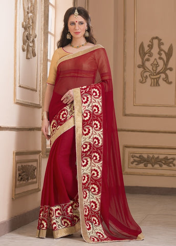 Red Color Wrinkle Chiffon Casual Party Sarees : Saroni Collection  YF-46411