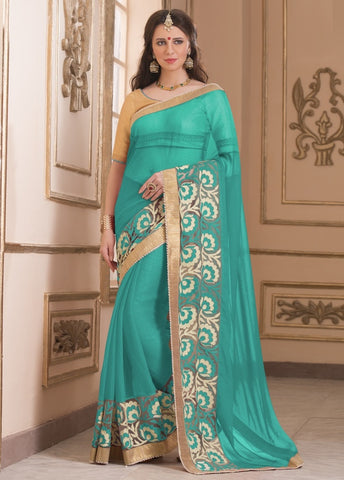 Sea Green Color Wrinkle Chiffon Casual Party Sarees : Saroni Collection  YF-46412