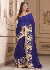 Blue Color Wrinkle Chiffon Casual Party Sarees : Saroni Collection  YF-46413