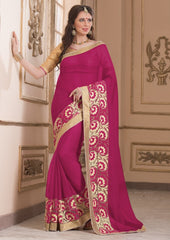 Rani Pink Color Wrinkle Chiffon Casual Party Sarees : Saroni Collection  YF-46414