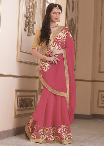 Pink Color Wrinkle Chiffon Casual Party Sarees : Saroni Collection  YF-46415