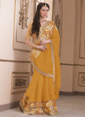 Yellow Color Wrinkle Chiffon Casual Party Sarees : Saroni Collection  YF-46416
