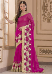 Rani Pink Color Wrinkle Chiffon Casual Party Sarees : Amija Collection  YF-46417