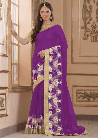 Purple Color Wrinkle Chiffon Casual Party Sarees : Amija Collection  YF-46418