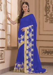 Blue Color Wrinkle Chiffon Casual Party Sarees : Amija Collection  YF-46419