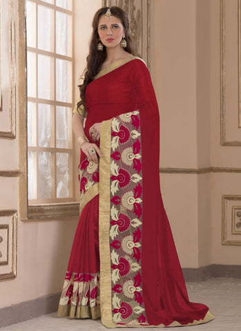 Red Color Wrinkle Chiffon Casual Party Sarees : Amija Collection  YF-46420