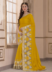 Yellow Color Wrinkle Chiffon Casual Party Sarees : Amija Collection  YF-46421