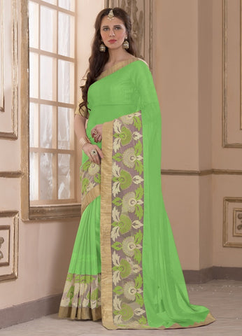 Green Color Wrinkle Chiffon Casual Party Sarees : Amija Collection  YF-46422