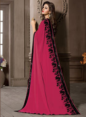 Pink Color Georgette Kitty Party Sarees : Pratima Collection  YF-46423