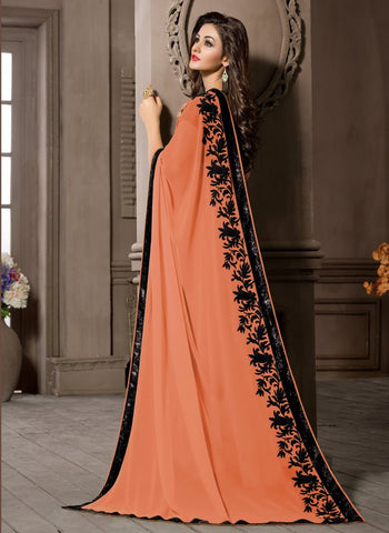 Peach Color Georgette Kitty Party Sarees : Pratima Collection  YF-46424