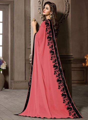 Pink Color Georgette Kitty Party Sarees : Pratima Collection  YF-46425