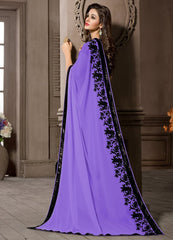 Lavender Color Georgette Kitty Party Sarees : Pratima Collection  YF-46426