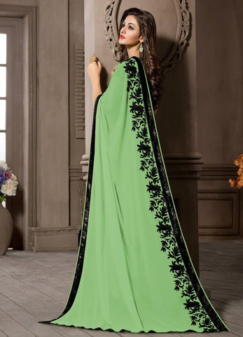 Green Color Georgette Kitty Party Sarees : Pratima Collection  YF-46427