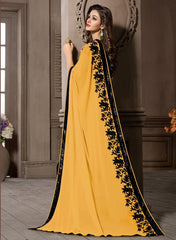 Yellow Color Georgette Kitty Party Sarees : Pratima Collection  YF-46428