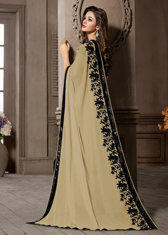 Beige Color Georgette Kitty Party Sarees : Pratima Collection  YF-46429