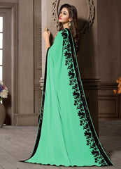 Pearl Green Color Georgette Kitty Party Sarees : Pratima Collection  YF-46430
